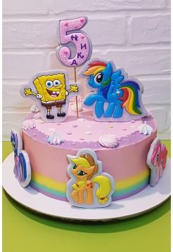 """Детский Торт """"Мой Маленький Пони  и Губка Боб"""""""